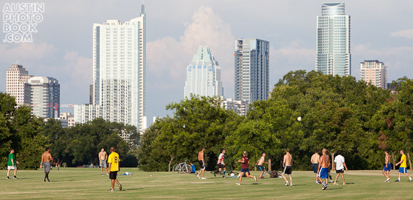 Zilker Park Downtown view from the Great Lawn in Austin, Texas - soccer players