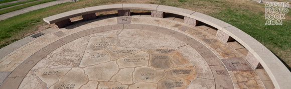 Map of Texas on Doug Sahm Hill in Butler Park by Ranger Excavating, next to the Liz Carpenter Fountain - Austin, Texas