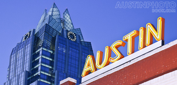 Downtown Austin Neon Sign with the Frost Tower